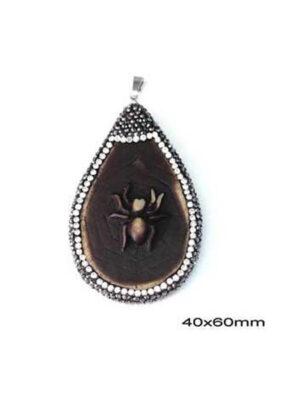 Μενταγιόν Κοκκάλινο Αράχνη με Μαρκασίτη 40x60mm
