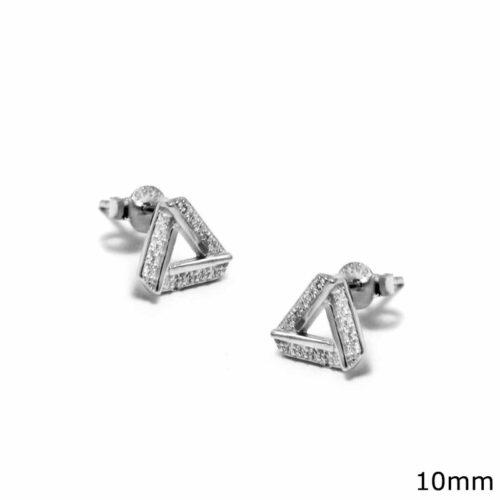 Ασημένια Σκουλαρίκια Τρίγωνα με Ζιργκόν